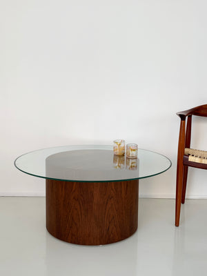 Walnut Drum Coffee Table by Paul Mayen