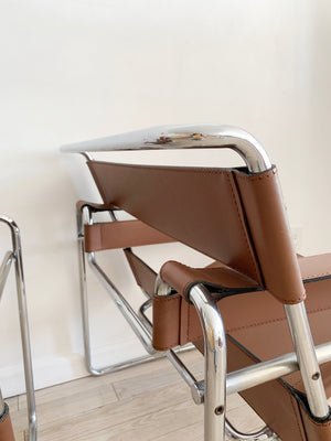 1970s Brown Leather Authentic Wassily Chair by Marcel Breuer