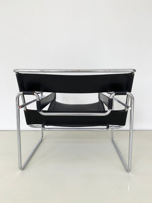 Mid Century Black Leather Wassily Chair by Marcel Breuer