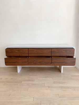1970s Waterfall Rosewood Drawer Credenza
