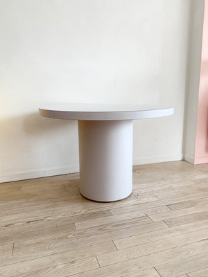 Vintage White Laminate Drum Dining table