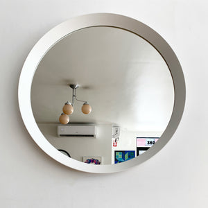 Vintage White Plastic Circle Wall Mirror