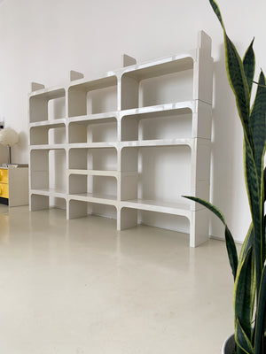 1970s White ABS Plastic Bookcase by Olaf Von Bohr for Kartell- 3 Bays