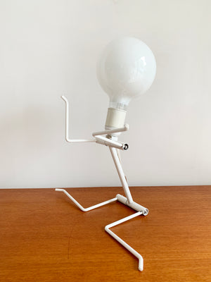 Vintage White Metal Bendy Person Lamp