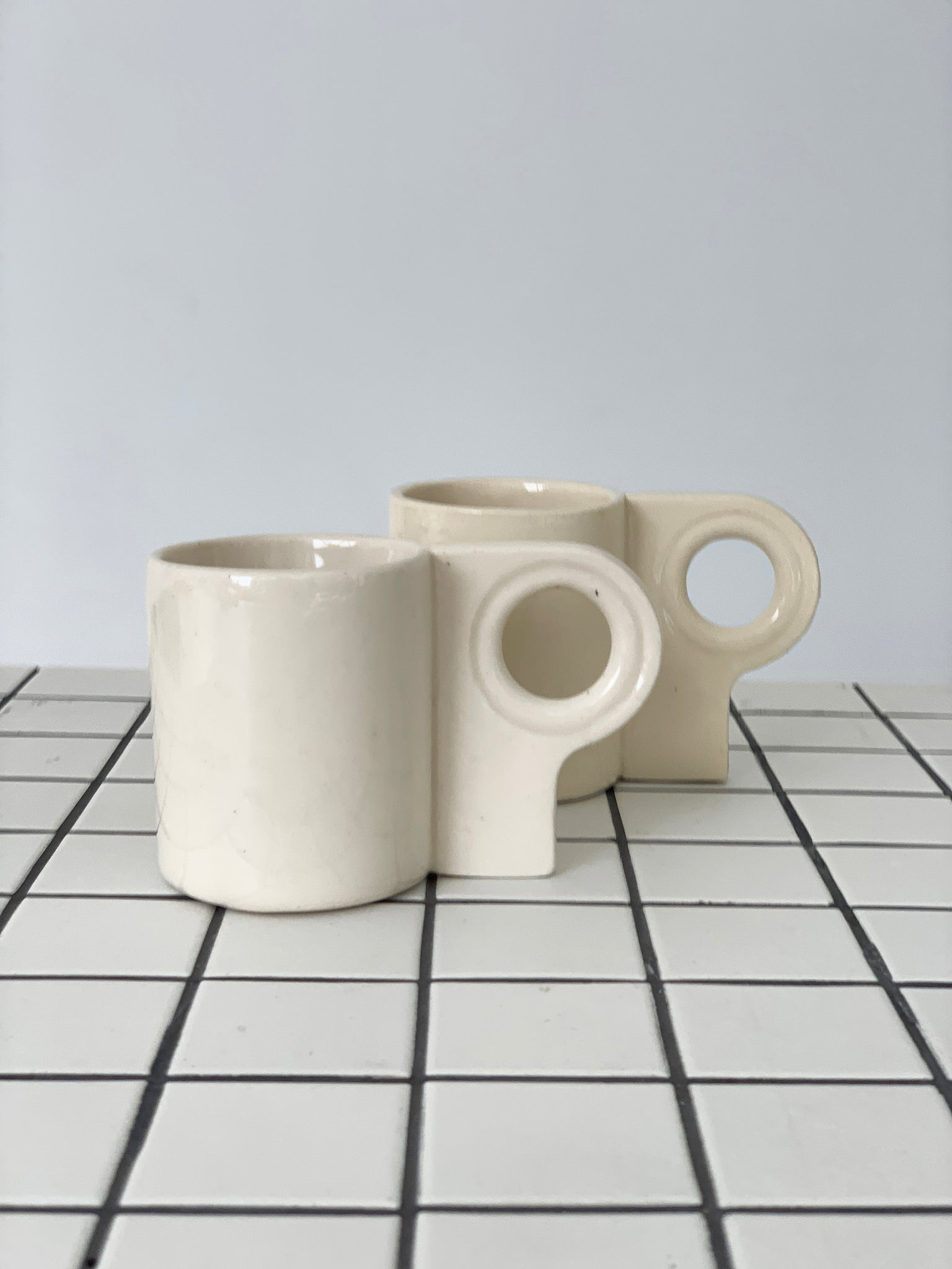 Hand Made Cream Stoneware Ceramic Stacking Mug