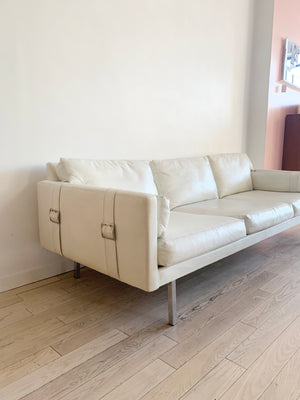 1971 White Vinyl Maurice Villency 3-Seater Sofa