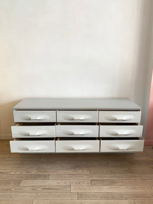 1970s Treco White 9-Drawer Credenza by Giovanni Maur