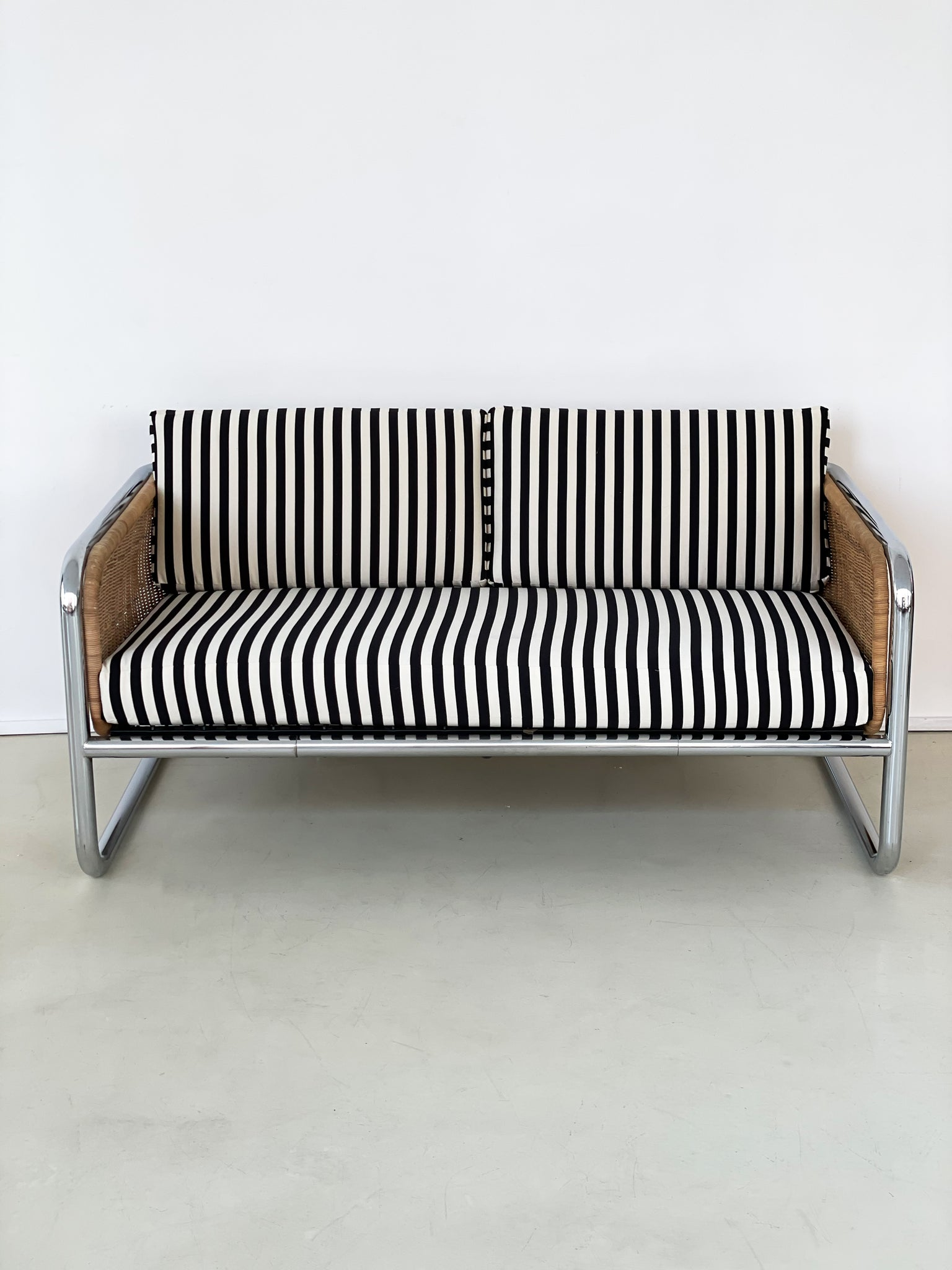 1970s Martin Visser Wicker and Chrome Cantilever Couch