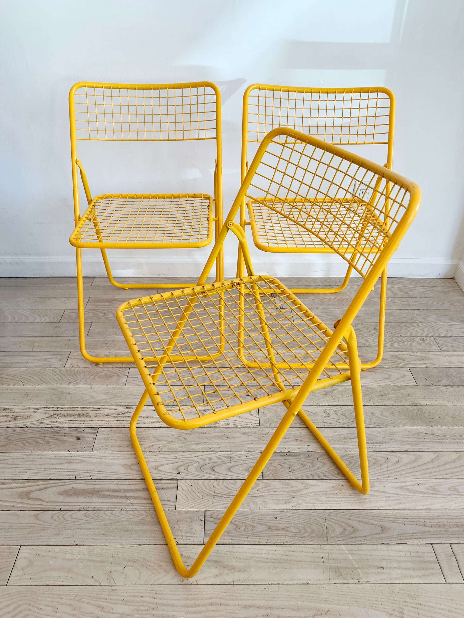 Yellow Metal Grid Folding Chairs By Niels Gammelgaard For Ikea 1979 Home Union Nyc