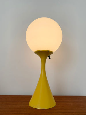 1960s Yellow Laurel Lamp with Original Frosted Glass Orb
