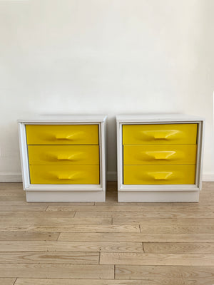 Pair of 1970s Yellow Plastic Front Treco Nighstands by Giovanno Maur