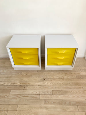 Pair of 1970s Yellow Plastic Front Treco Nighstands by Giovanni Maur