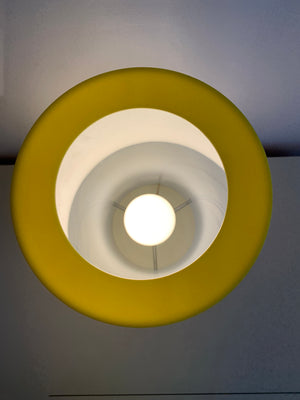 1960s Paul Mayen White Plexi Columnar Lamp W/ Yellow Top