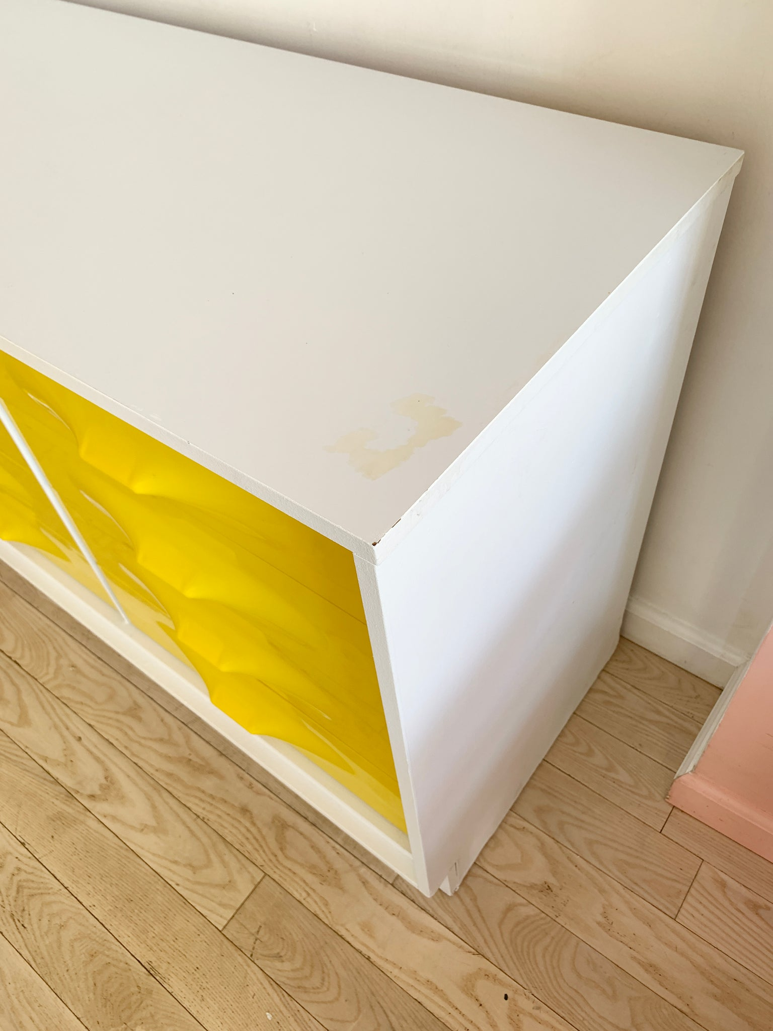1970s Yellow Plastic Front Credenza by Giovanni Maur for Treco