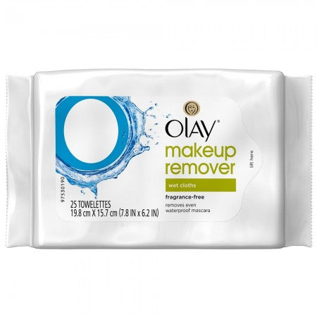 OLAY Makeup Remover Wet Cloths, Fragrance-Free 25 ea (1 Pack)