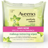 AVEENO Positively Radiant Cleansing Makeup Removing Wipes, Twin Pack 50 ea (1 Pack)