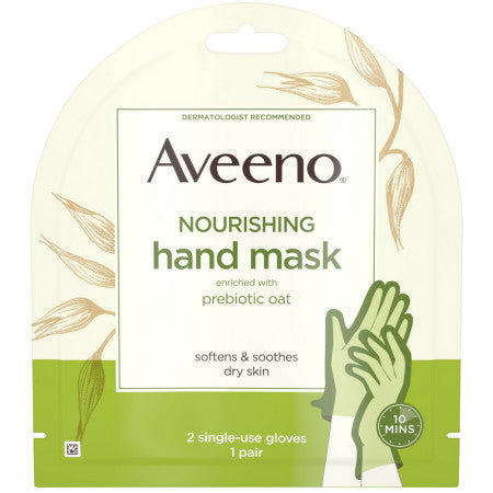 Aveeno  Nourishing Hand Therapy Mask Moisturizing formula with Prebiotic Oat for Dry Skin, Fragrance-Free and Paraben-Free, 2 Single-Use Gloves 1 ea (1 Pack)