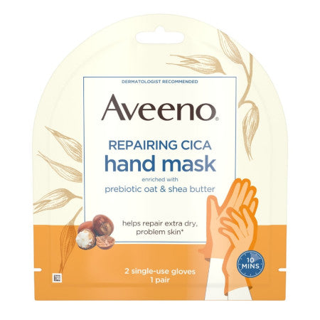 AVEENO Repairing CICA Hand Mask with Prebiotic Oat and Shea Butter for Extra Dry Skin, Paraben-Free and Fragrance-Free 1 Pair (1 Pack)
