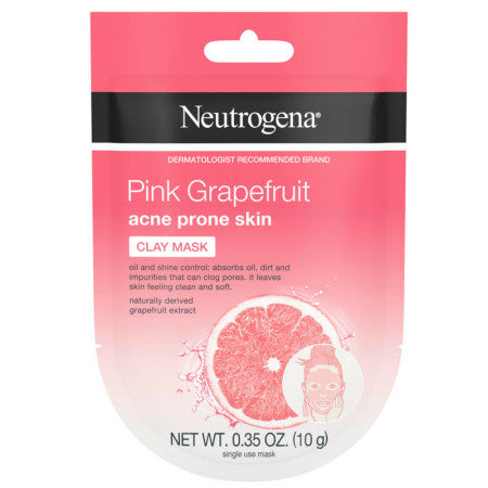 Neutrogena Pink Grapefruit Clay Face Mask Acne Prone Skin Grapefruit Extract, Oil Control & Shine Control, Single-Use 0.35 oz (1 Pack)