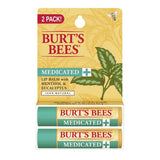 Burt's Bees 100 Percent Natural Medicated Moisturizing Lip Balm (Twin Pack) 1 ea (1 Pack)