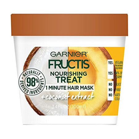 Garnier Fructis Nourishing Treat 1 Minute Hair Mask + Coconut Extract 3.4 oz (1 Pack)