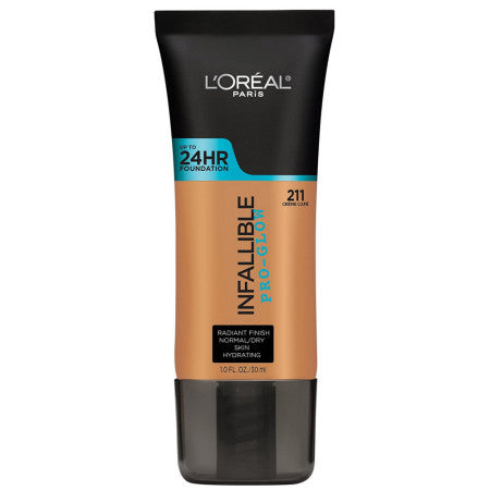 L'Oreal Paris Infallible Pro-Glow Foundation, Creme Cafe, 1 oz (1 Pack)
