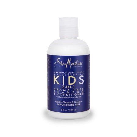 Shea Moisture Kids Marshmallow Root and Blueberry 2 in 1 Shampoo and Conditioner, 8 oz  (1 Pack)