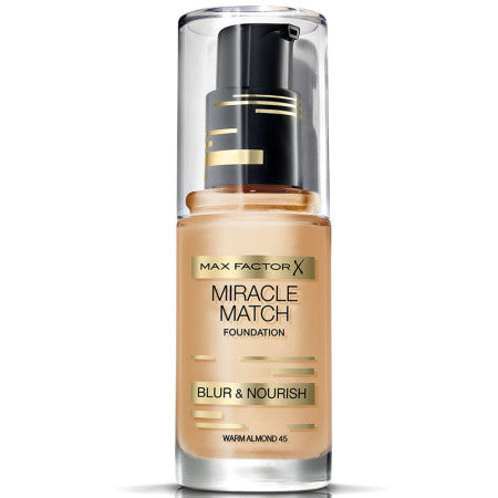 Max Factor Miracle Match Foundation, [45] Warm Almond, 1 oz (1 Pack)