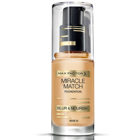 Max Factor Miracle Match Foundation, [55] Beige, 1 oz (1 Pack)