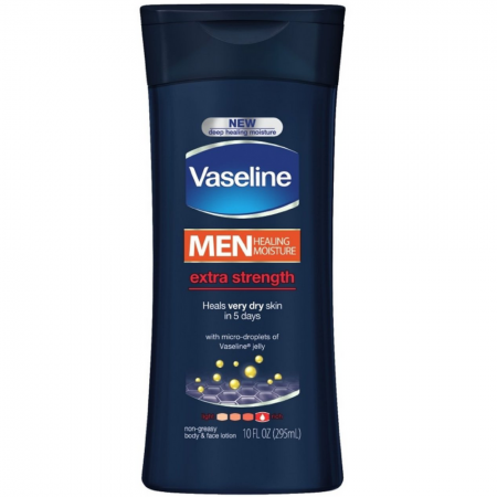 Vaseline Men Men Healing Moisture Non-Greasy Body & Face Lotion, Extra Strength 10 oz (1 Pack)