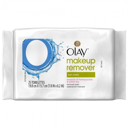 OLAY Makeup Remover Wet Cloths, Honeysuckle & White Tea 25 ea (1 Pack)