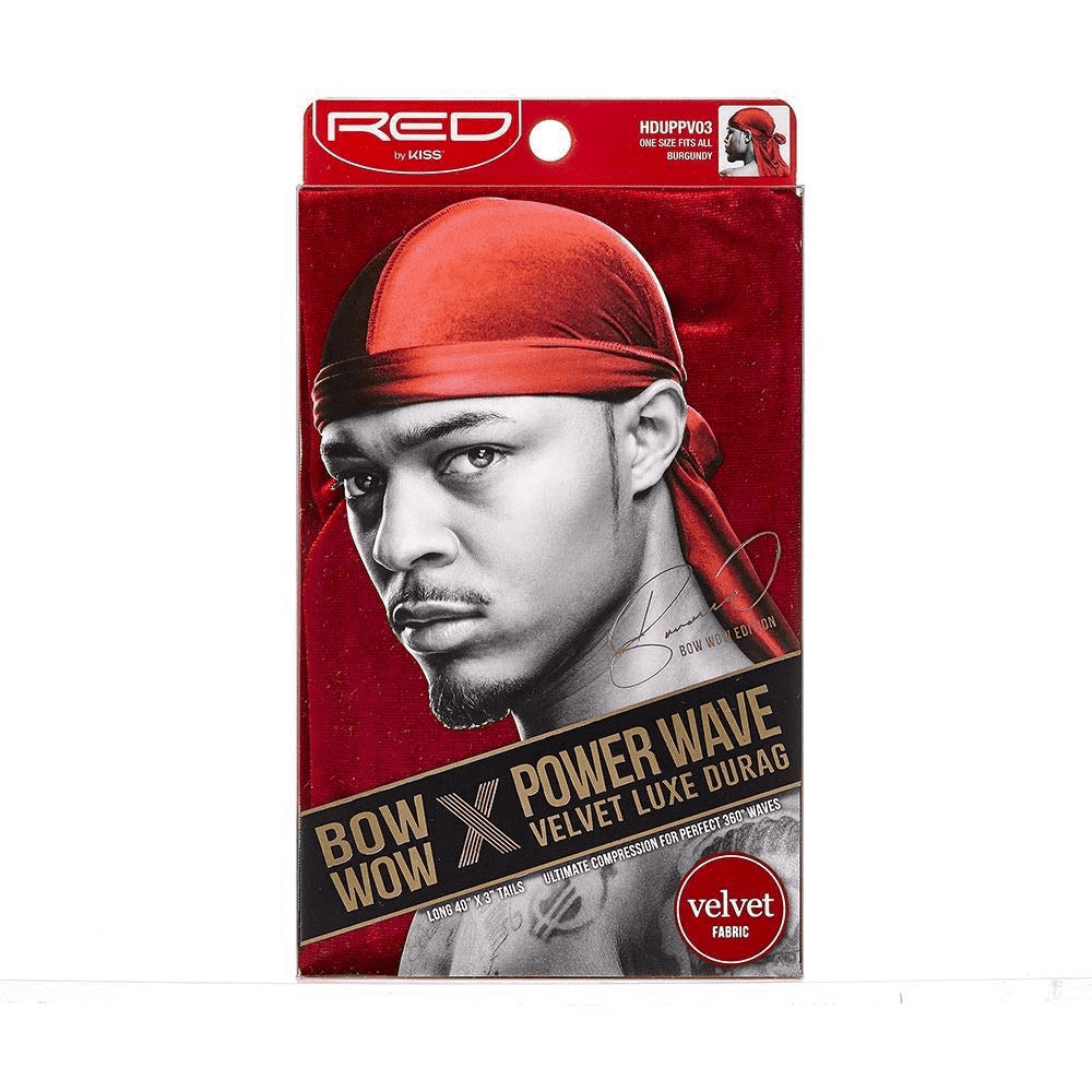 Kiss Red Power Wave Velvet Luxe Durag, Burgundy 1 ea (1 Pack)
