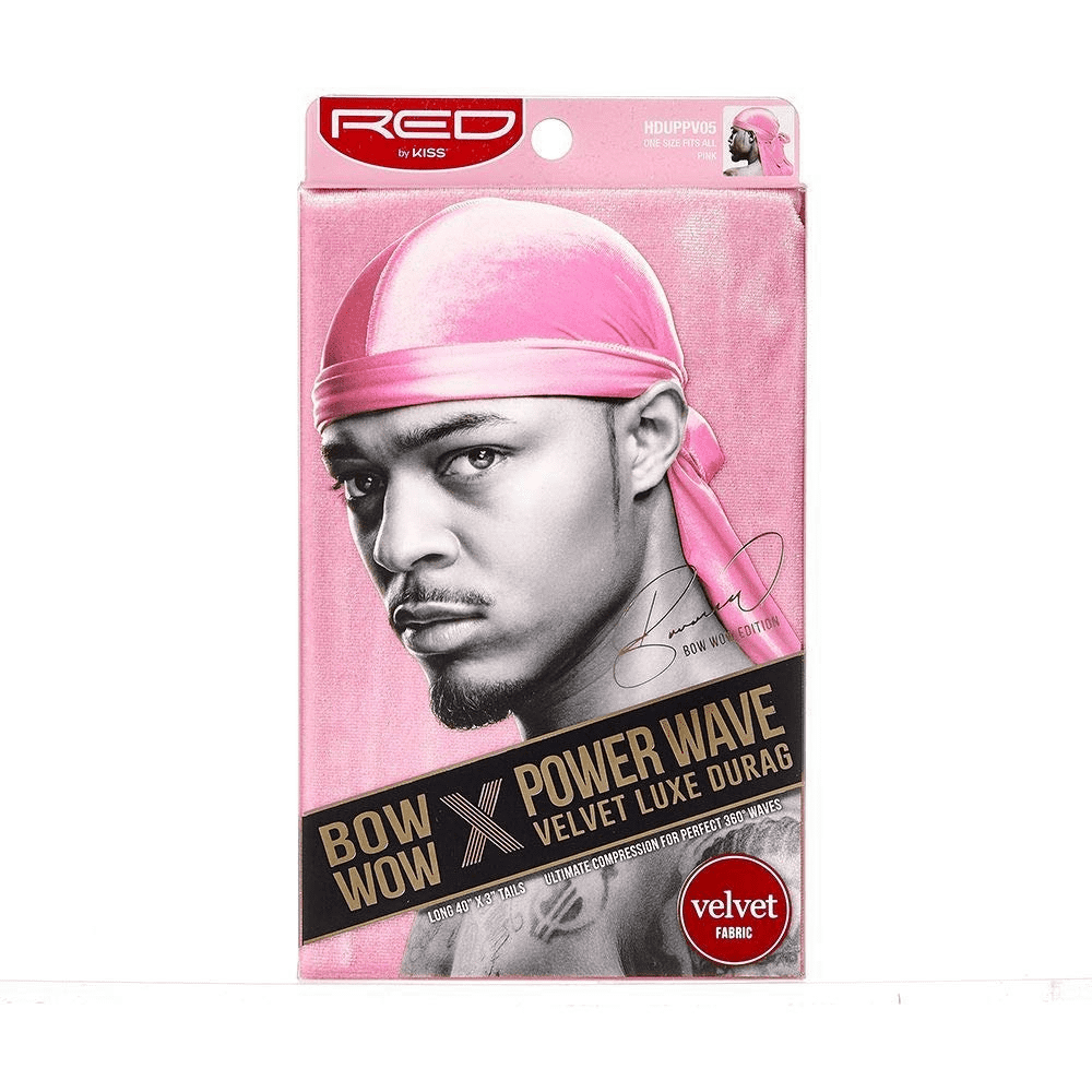 Kiss Red Power Wave Velvet Luxe Durag, Pink 1 ea (1 Pack)