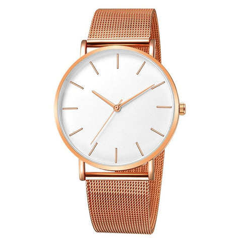 Rose Gold and White Face--Rose Gold Band