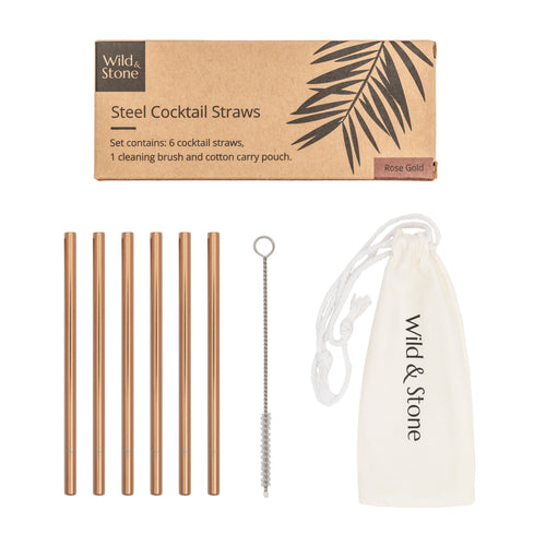 Steel Cocktail Drinking Straws - Rose Gold - 6 Pack - Living Thing