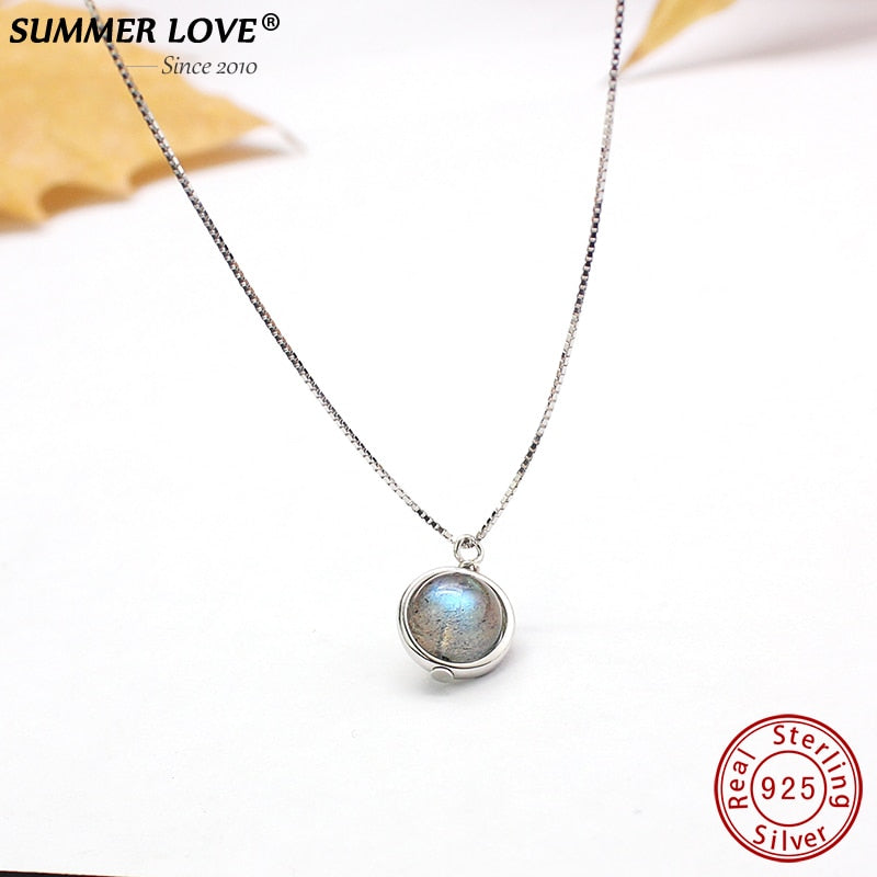 Genuine S925 Sterling Silver Labradorite Pendant Necklace For Women Fine Jewelry Nature Gemstone Handmade bijoux femme