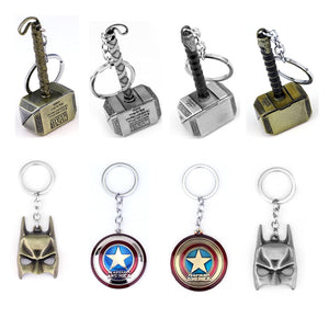 Marvel Avengers Thor's Hammer Mjolnir Keychain Captain America Shield Hulk Batman Mask KeyChain Keyrings Drop Shipping Wholesale