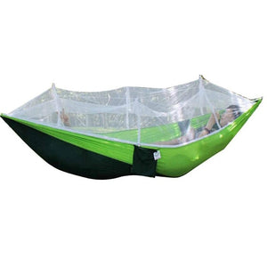 Portable Outdoor Camping Hammock Hanging Bed With Mosquito Net 260x130cm High Strength Parachute Fabric Tents Sleeping Hammock
