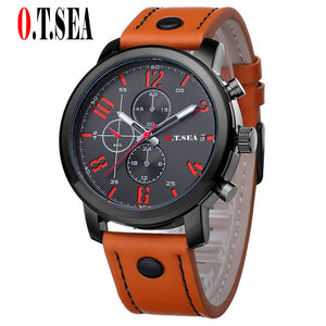 Hot Sales O.T.SEA Brand Soft Pu Leather Watch Men Military Sports Quartz Wristwatch Relogio Masculino 8192