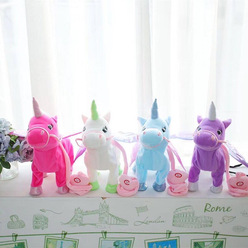 VIP Price 35cm Electric Walking Unicorn Plush Toy Stuffed Animal Toy Electronic Music Unicorn Toy for Children Christmas Gifts