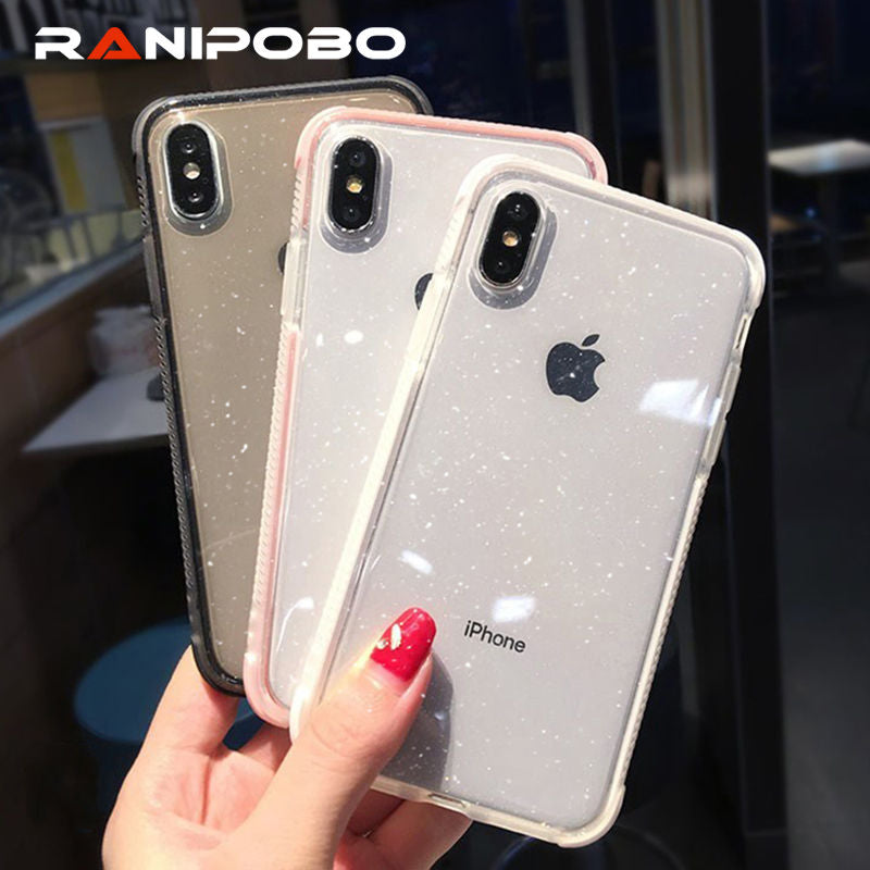 Transparen Glitter Bling Anti knock Phone Case For iPhone X XS XR XS Max 6 6S 7 8 Plus Fashion Clear Back Cover Candy Color Case