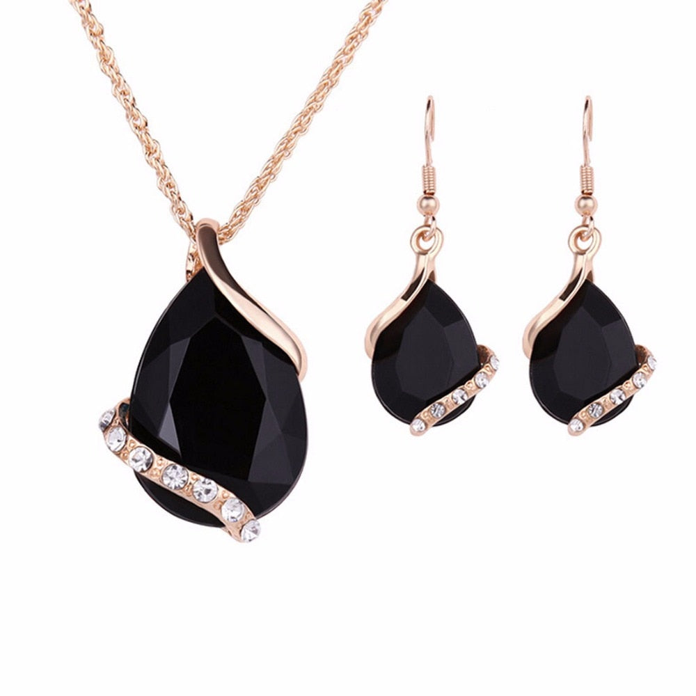 Black Crystal Earrings Necklaces Sets Gold Color Jewelry Sets for Women Geometric Design Wedding Jewelry 2PCS Jewelry Sets