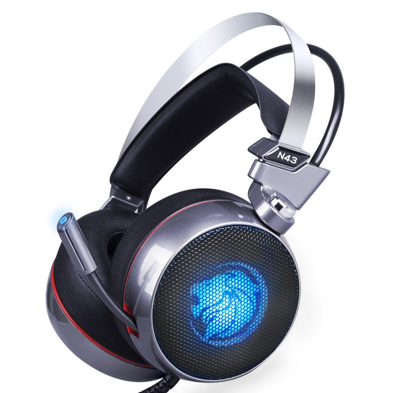 LED LionHead Surround Sound Bass Gaming Headset With Headphone