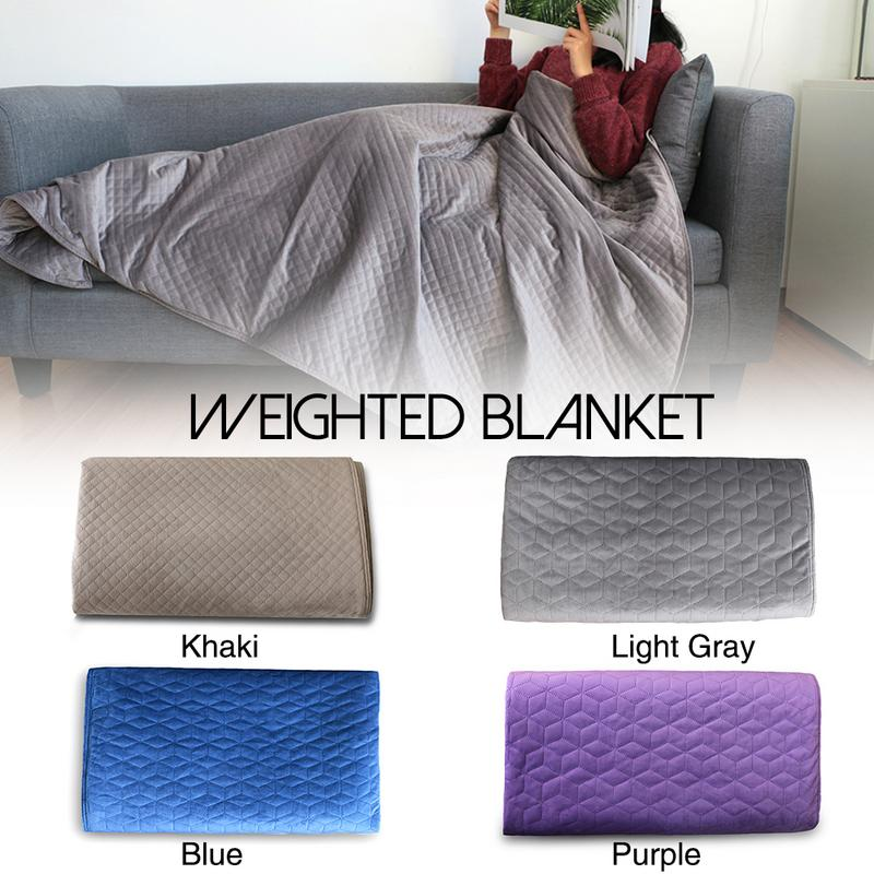 Premium Velvet Weighted Blanket And Removable Cover Concealed Zipper Premium Glass Beads For Adults And Children