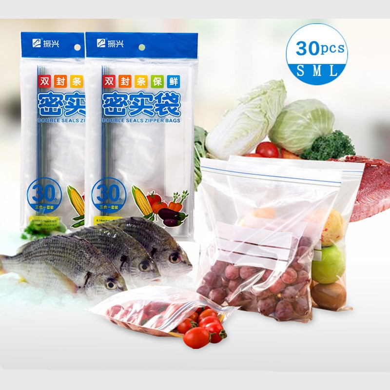 30pcs/vanzlife Kitchen reusable silicone food bag for fruit freezer plastic bags storage vacuum mylar clothing bags ziplock bag