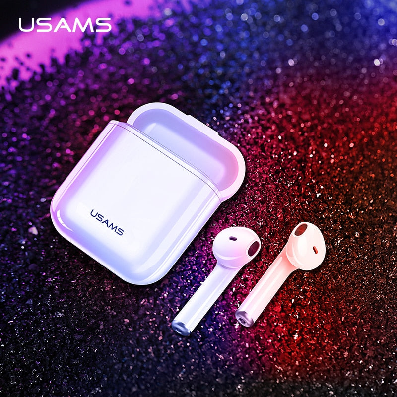 USAMS Bluetooth earphones for iPhone Samsung Xiaomi earbuds,i9 i10 i11 i12 TWS Wireless Bluetooth headphone for iPhone
