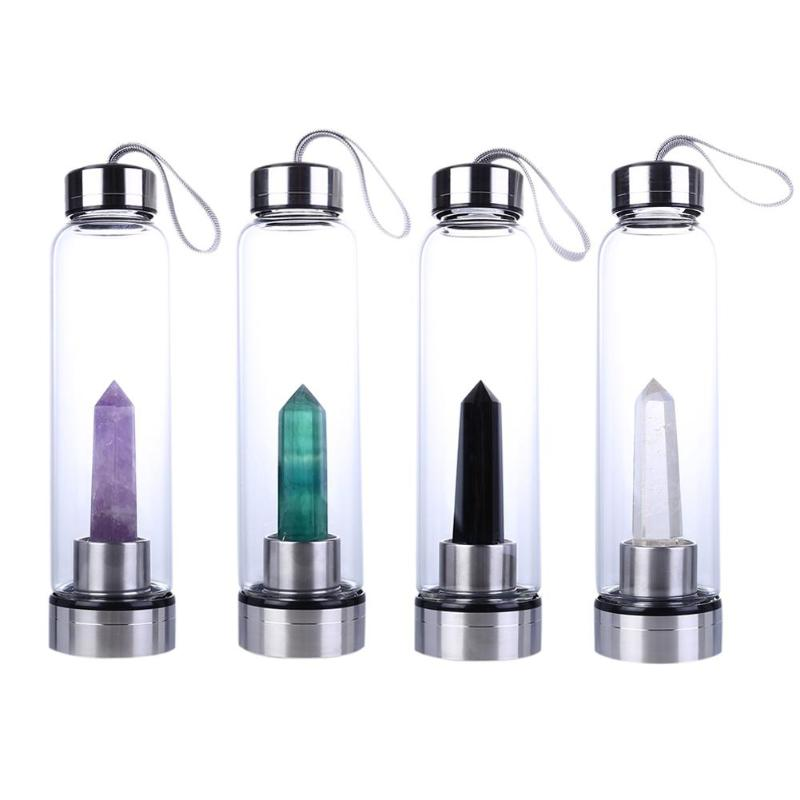 NEW Natural Crystal Water Bottle Portable Healing Obelisk Wand Elixir Quartz Crystal Water Bottle Glass Cups Birthday Gifts