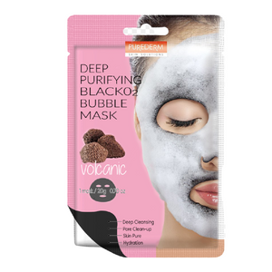 [PUREDERM] Deep Purifying Black O2 Bubble Mask (Volcanic)