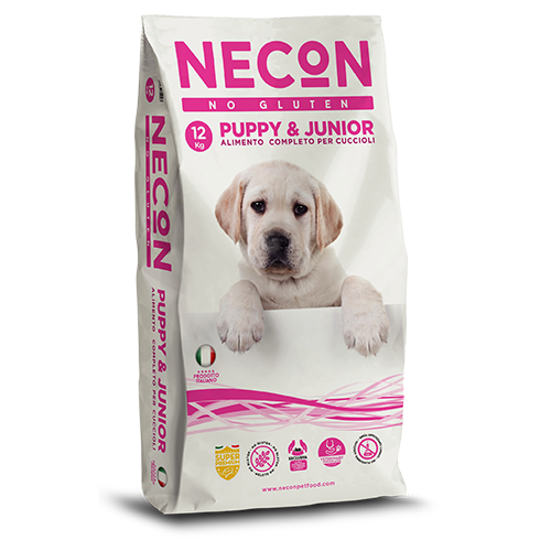 Necon No Gluten Puppy e Junior Maiale Riso  12Kg
