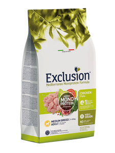 Exclusion Monoprotein Medium Chicken 12Kg